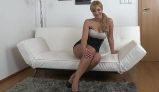 Congenital boobed Nathaly spreading her gams for us